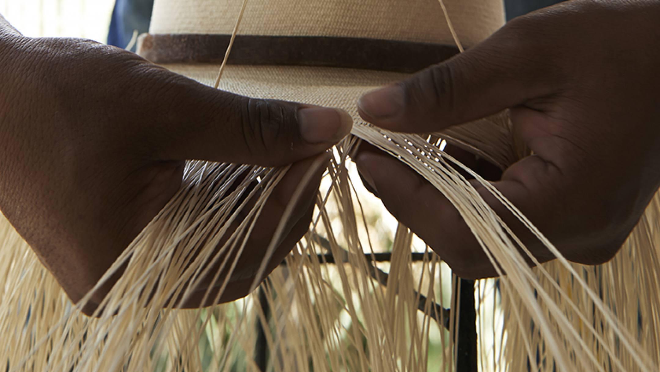 Le tressage du Panama est une partie importante et surtout difficile de la fabrication du panama
