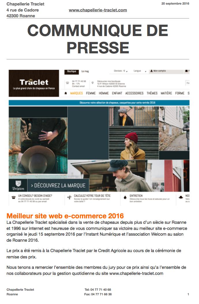 la chapellerie traclet gagne le premier prix ecommerce 2016