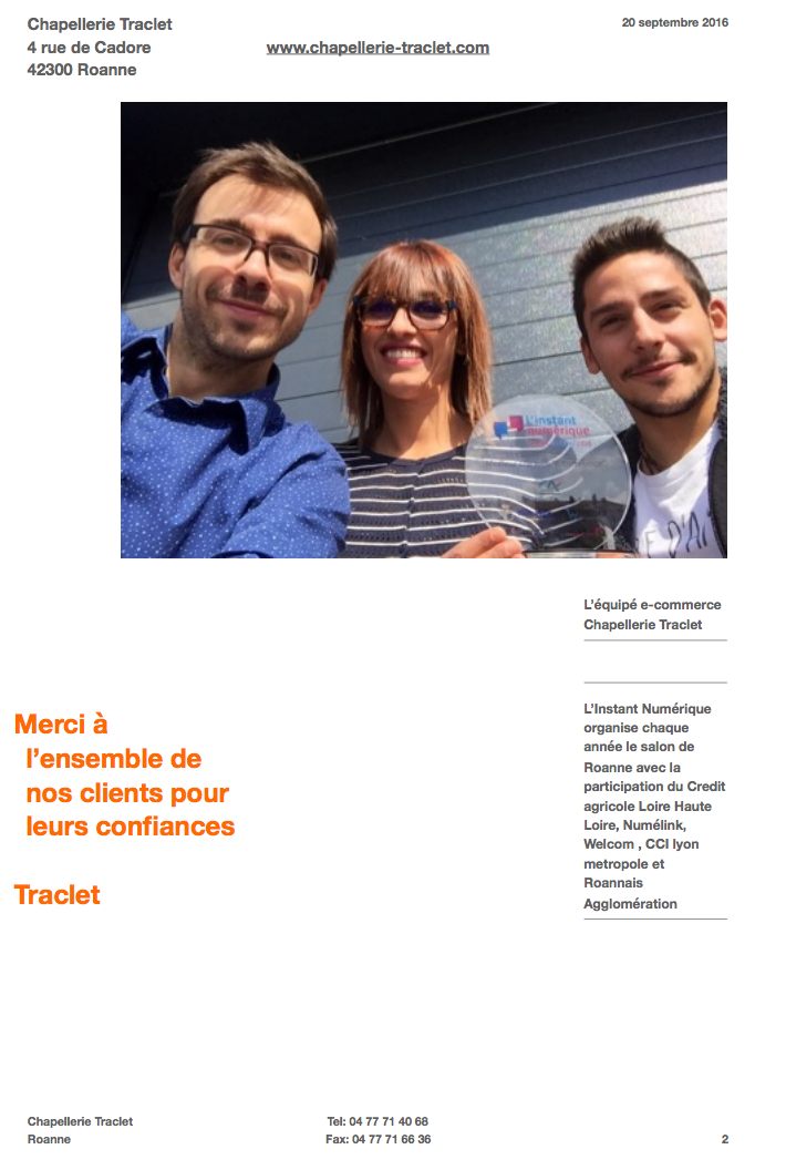 Chapellerie Traclet - trphe e-commerce